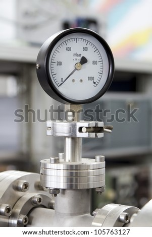 Manometer precise instrument in laboratory, close up - stock photo