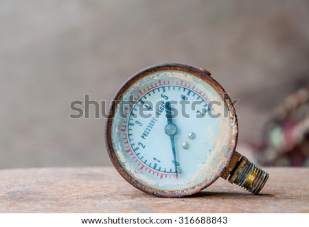 Manometer to measure air pressure very old. - stock photo