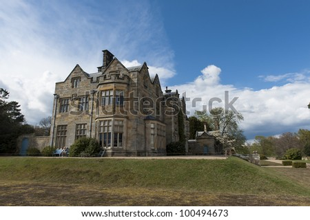 Manor house on the ground s of Scotney Castle in Kent England - stock photo