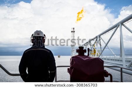 Manpower on Platform in the Gulf of Thailand - stock photo