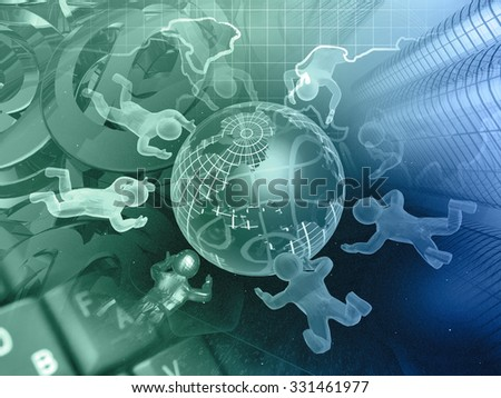 Mans, globe and map - abstract computer background, in greens and blues. - stock photo