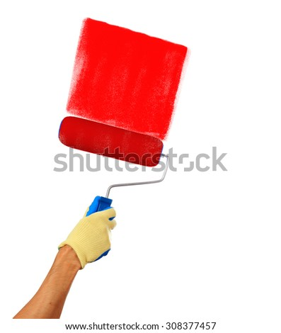 Mans hand holding a paint roller drawing with a red paint isolated on a white background - stock photo