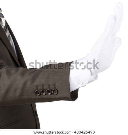 Mans hand in white glove showing stop gesture isolated on white background - stock photo