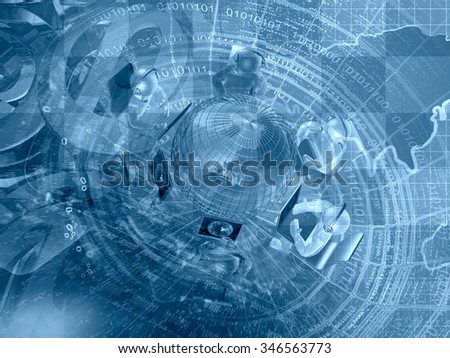 Mans, mail signs and map - abstract computer background in blues. - stock photo