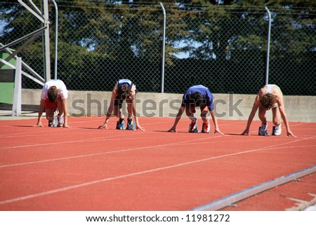 mans on the starting lines - stock photo