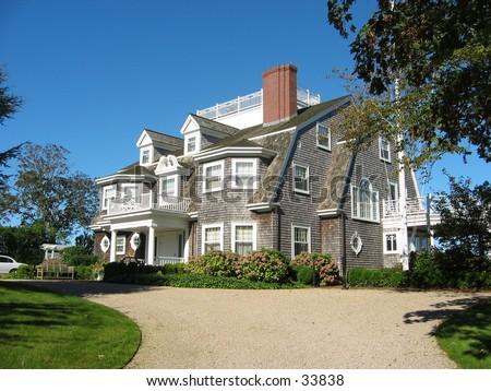 mansion on nantucket island - stock photo