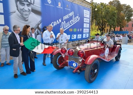 MANTOVA (MN), ITALY - SEPTEMBER 18: A red Alfa Romeo 6C 1750 Zagato takes part to the GP Nuvolari classic car race on September 18, 2015 in Mantova (MN). The car was built in 1930. - stock photo