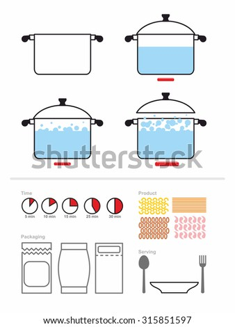 Manual cooking in a saucepan. Set to manual on preparation, cooking pasta or shrimp. Includes product packaging. And the cooking time. Infographics for recipes Cook. Food cooking instruction - stock photo