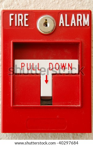 Manual pull station on the fire alarm system in the new Public Safety Center in Roseburg Oregon - stock photo