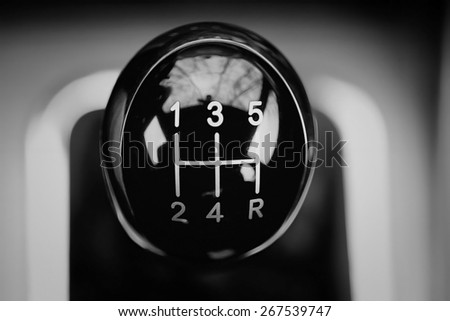 Manual Transmission, handle macro - stock photo