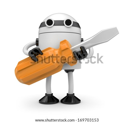 Manual worker. Isolated on white - stock photo
