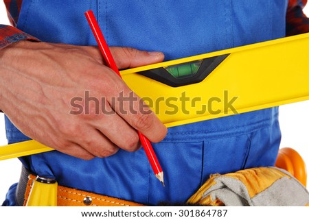 Manual worker man isolated on white background - stock photo