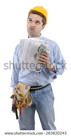 Manual worker with construction plan on hand looking at the space for your text. - stock photo