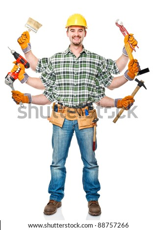 manual worker with six arms on white background - stock photo