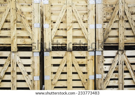 Manufactures wooden pallet boxes, business and industry - stock photo