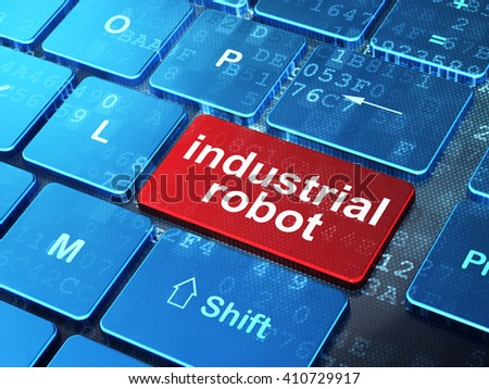 Manufacuring concept: computer keyboard with word Industrial Robot on enter button background, 3D rendering - stock photo