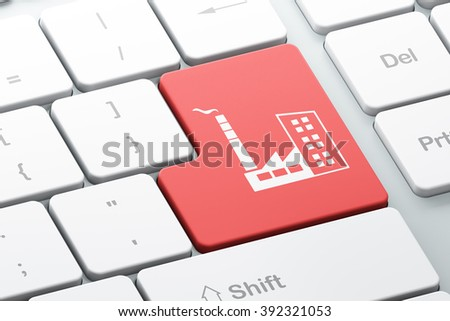 Manufacuring concept: Industry Building on computer keyboard background - stock photo