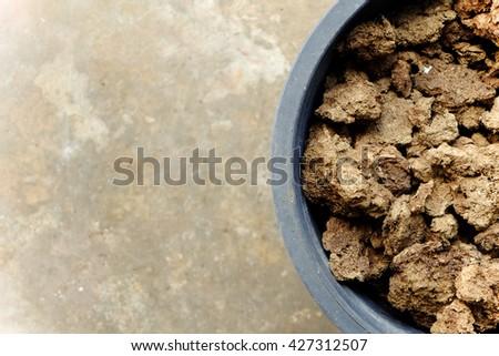 manure fertilizer in black pot - stock photo