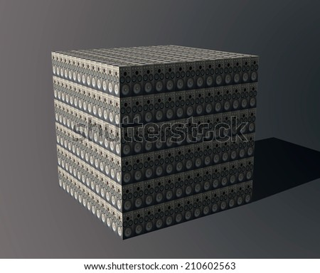Many abstract black modern speakers in form of cube - stock photo