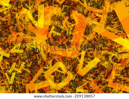 many abstract chaotic orange alphabet letters - stock photo