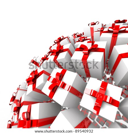 Many abstract gift boxes with red ribbons in form of sphere isolated on white background. 3d Illustration. Close-up - stock photo