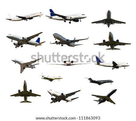 many aircraft with the gear and two jet engines, isolated on white background - stock photo