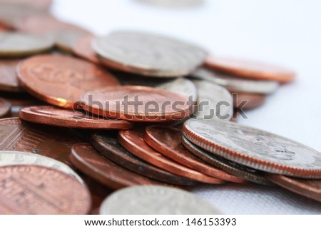Many American coins - stock photo