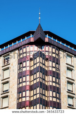 Many angles in housing under bright sunlight. - stock photo