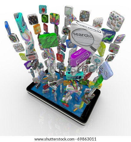 Many application app icons downloading into a smart phone - stock photo