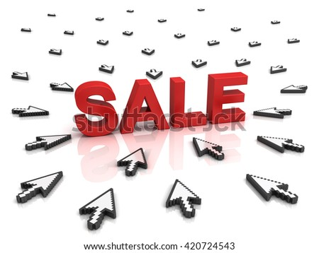 Many arrow cursors mouse clicking red word sale button or link isolated on white background with reflection. 3D rendering. - stock photo
