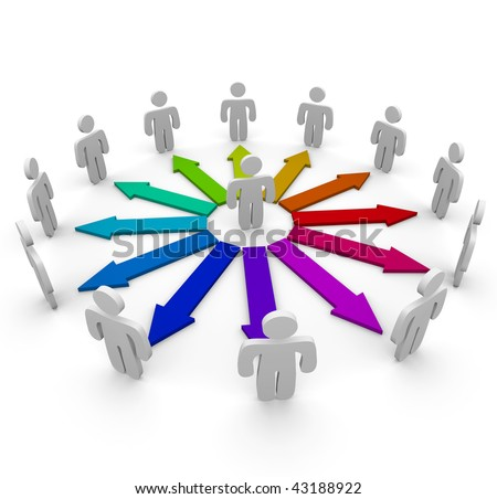 Many arrows of different colors connect several people in a communication network - stock photo