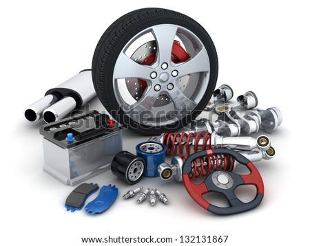 Many auto parts (done in 3d) - stock photo