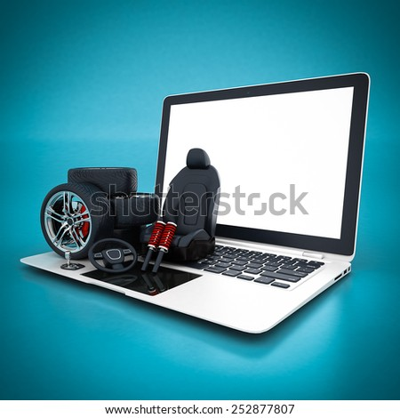 many auto parts on a blue background - stock photo