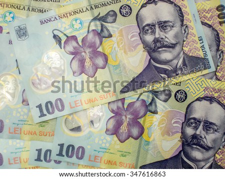 many banknotes of one hundred romanian currency leu ron concept - stock photo