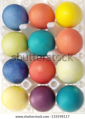 many beautiful Easter eggs of different colors - stock photo