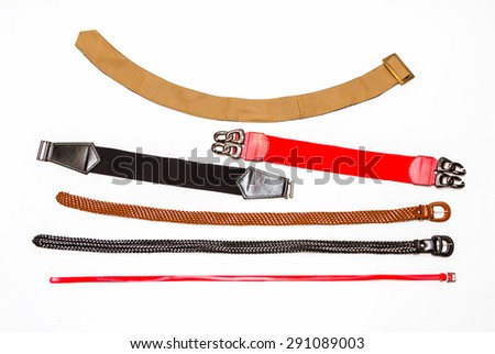 Many Belt on white background for design. - stock photo