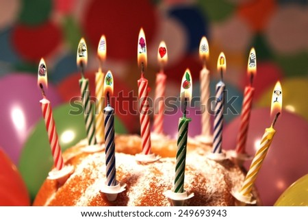 many birthday wishes inside candlelight  - stock photo