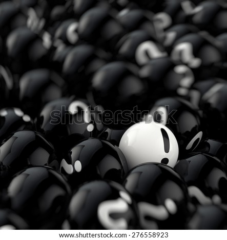many black balls with question marks. 3d rendering - stock photo