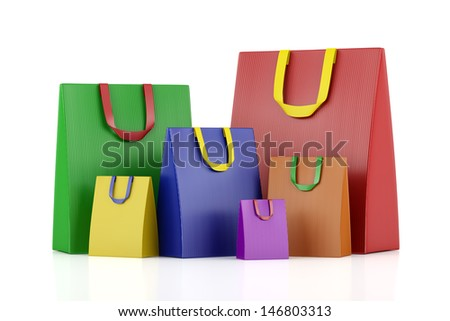 many blank color shopping bags isolated on white background - stock photo