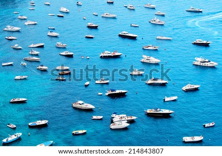 Many boats on water - stock photo