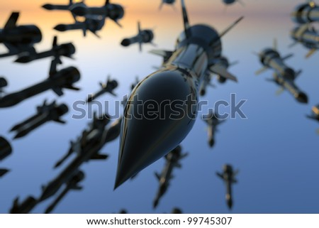Many bombs being dropped. - stock photo