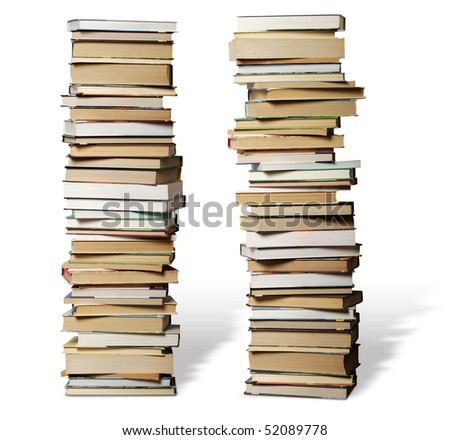 many books on each other with knowledge about anything - stock photo