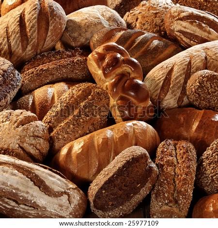 many bread in sunny light - stock photo