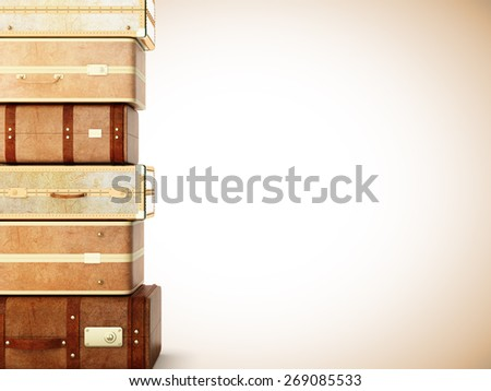 many brown leather suitcase on a yellow background - stock photo