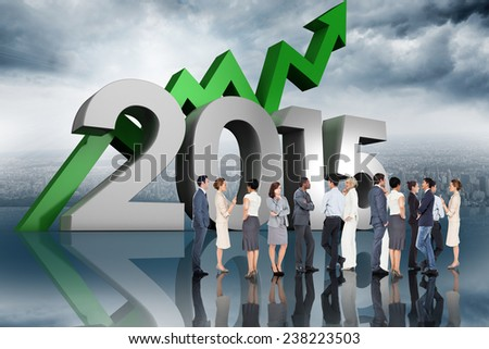 Many business people standing in a line against room with large window looking on city - stock photo