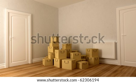 many carboards on floor after family moving - stock photo