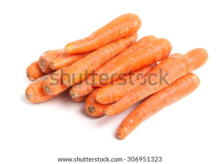 Many carrots isolated on white background - stock photo