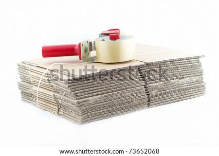 many cartons with a sticky tape - stock photo