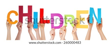 Many Caucasian People And Hands Holding Colorful  Letters Or Characters Building The Isolated English Word Children On White Background - stock photo