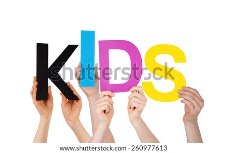 Many Caucasian People And Hands Holding Colorful Letters Or Characters Building The Isolated English Word Kids On White Background - stock photo